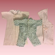 Pajamas, Robe, and Bunting for American Character Tiny Tears and Friends 1950s.