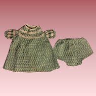 Green Print Dress and Unders for Composition Dolls 1930s