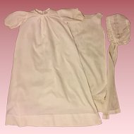 Antique Christening Gown, Slip, Bonnet for Bisque Baby Doll