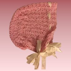 Pink Silky Crocheted Bonnet for Big Baby Dolls 1920s