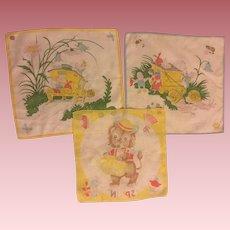 Three Vintage Child's Handkerchiefs