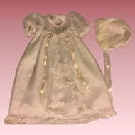 White Christening Gown and Bonnet for Vinyl, Hard Plastic, and Composition Babies