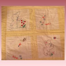 Sweet Yellow Quilt for Baby Dolls and Cribs 1940s
