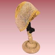 Crocheted Lovers Knot Bonnet