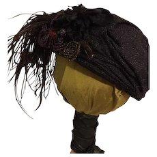Black Draped Turbin Hat For Bisque Dolls