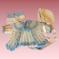 Three Piece Sweater Set for Big Baby Dolls  1940