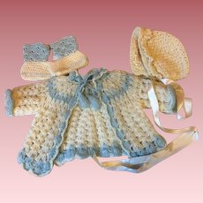 Three Piece Sweater Set for Big Baby Dolls  1940