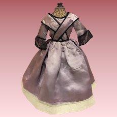Antique Lavender Satin Doll Dress for Bisque