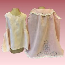 Pink Embroidered Dress for Toddlers and Satin Slip 1930s