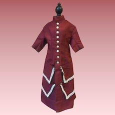 Burgundy Dress for Bisque Dolls