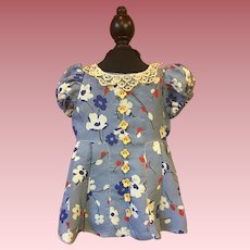 Floral Doll Dress for Large Composition Dolls 1930s