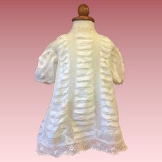 Exquisite Antique Silk and Irish Lace Dress for Large Dolls 1890