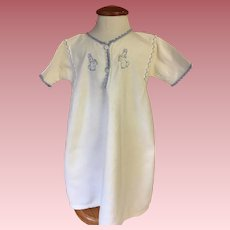 White Flannel Sacque with Embroidered Bunnies for Big Baby Dolls 1940