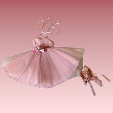 Pink Ballerina Dress and Rubber Ballet Shoes 1950s