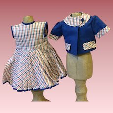 Two Piece Dress for Hard Plastic Dolls 1950