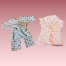 Drop Seat Pajamas and Chenille Robe for Dy-Dee Baby and Friends 1950s