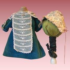Antique Velvet and Lace Dress for Antique Dolls