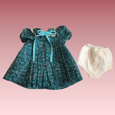 Turquoise Print Dress for Large Composition Dolls 1930s