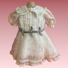 Rare Blue Shadowprint Organdy Effanbee American Child Dress 1930s