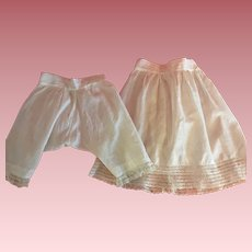 Antique Matching Slip and Bloomers for Large German or French Bisque Dolls