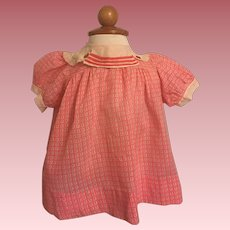 Pink Print Dress for Baby Dolls and big Mama Dolls 1930s