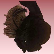 Black Linen Pompadour Hat For Bisque Dolls
