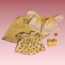 Dress, embroidered slip, sweater, booties, duckie For Dy-Dee Lou and Friends
