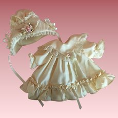 Silk, Tulle, and Satin Dress and Bonnet for Bisque Bebe