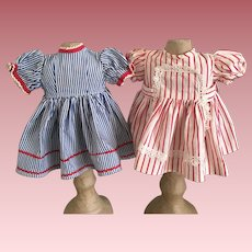 Two Striped Doll Dresses 1950s