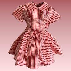 Red and White Taffeta Dress for Hard Plastic Dolls 1950s