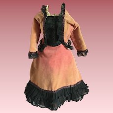 Velvet and Lace Two Piece Ensemble for China Head Dolls