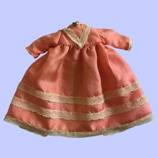 Hand-Stitched Silk Dress for Small Bisque Dolls