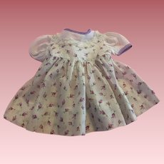 Lavender and White Dimity Tulip Print Baby Doll Dress 1950s