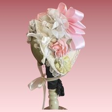 Floral Hat for French or German Bisque Dolls
