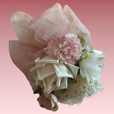 Tiny Floral Half Hat For French or German Bisque Dolls