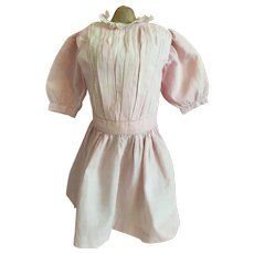 Antique Dropped Waist Pink Dress for Bisque Doll 1900