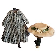 Nubby Coat and Linen Picture Hat For Bisque or Composition Dolls