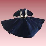 Navy Velvet Dress For Hard Plastic and Composition Dolls 1940