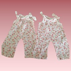 Matching Pair of Pink Print Batiste Doll Jumpsuits 1930s