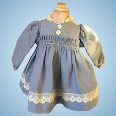 Blue Checked Dress for Small Bisque Dolls