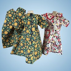 Three Doll Feedsack Outfits 1920s
