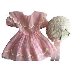 Plisse Dress and Hat Playpal Dolls 1950s