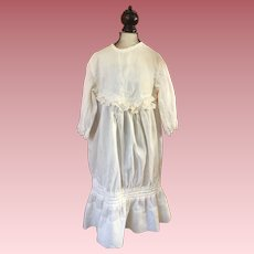Antique Dropped Waist Dress for French or German Bisque Doll Early 1900s