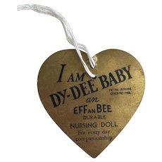 Original Gold Effanbee Dy-Dee Baby Tag