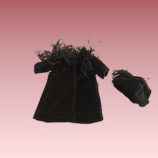 Antique Velvet Coat and Hat with Ostrich Feathers For Bisque Dolls