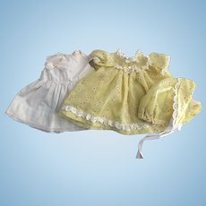 Yellow Eyelet Batiste Dress, Slip, and Bonnet for Dy-Dee Baby