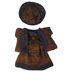 Antique Three Piece Silk Outfit for French or German Bisque
