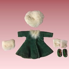 Green Velvet Vogue Ginny Dress, Hat Muff and Shoes