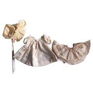 Silk and Taffeta Dress, Slip, Bonnet for Baby Dolls 1940