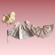 Silk and Taffeta Dress, Slip, Bonnet for Baby Dolls 1940
